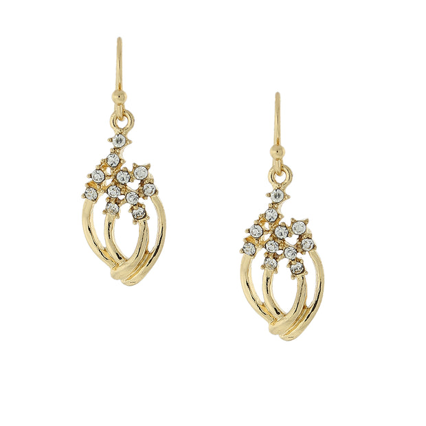 Gold-Tone Clear Crystal Petite Drop Earrings