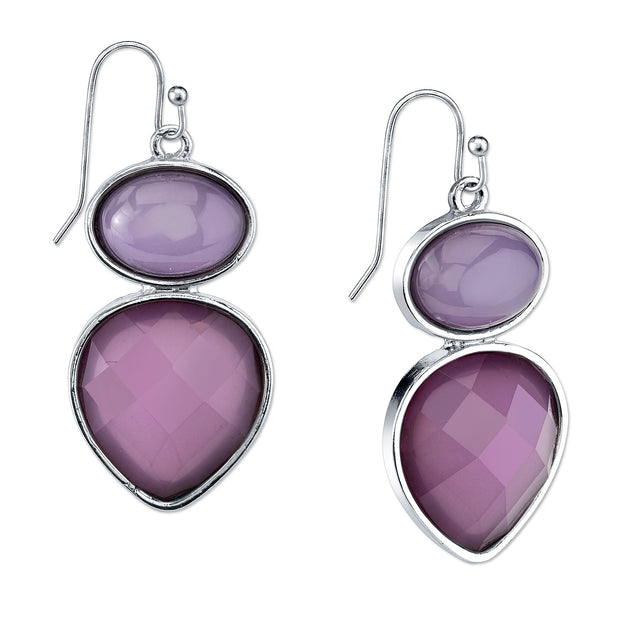 Silver Tone Purple Drop Earrings