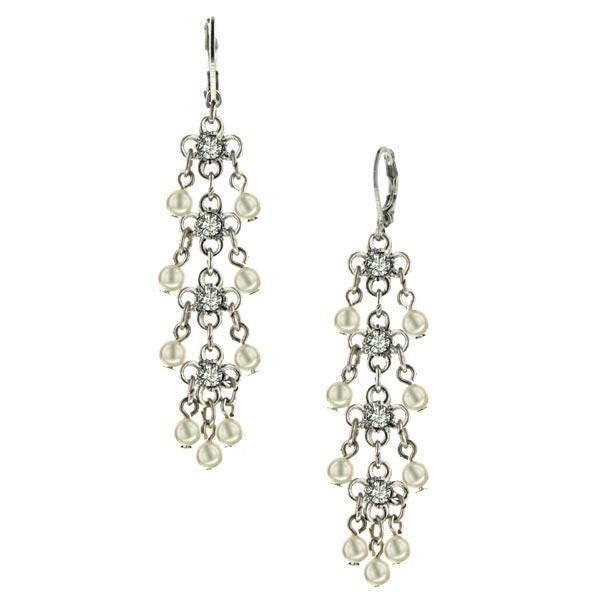 Silver-Tone Crystal and  Costume Pearl Linear Earrings