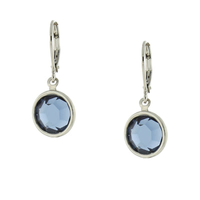 Silver Tone Blue Swarovski Elements Drop Earrings
