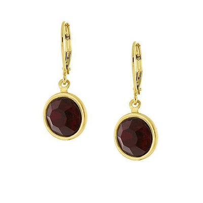 14K Gold-Dipped Red Swarovski Elements Drop Earrings