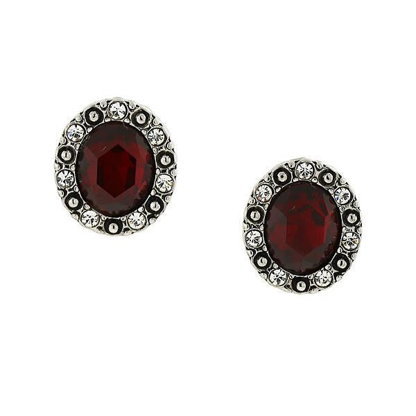 Silver-Tone Red and Crystal Accent Oval Button Earrings