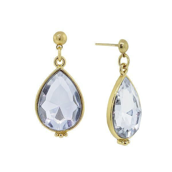 Gold Tone Clear Crystal Teardrop Earrings
