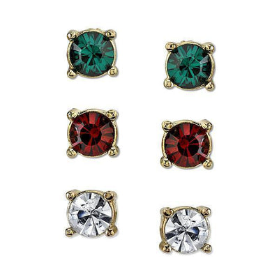 Gold Tone Green, Red, And Crystal Trio Stud Earrings