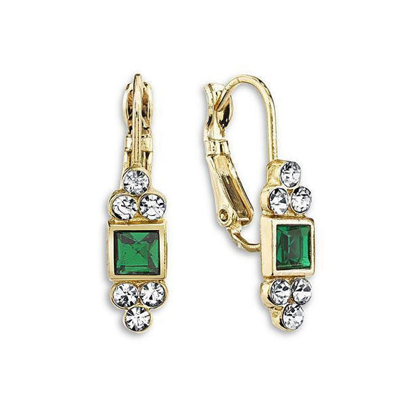 Fashion Jewelry - 2028 Gold-Tone Emerald Color Square with Crystal Accent Drop Earrings