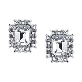 Silver-Tone Clear Crystal Octagon Button Earrings
