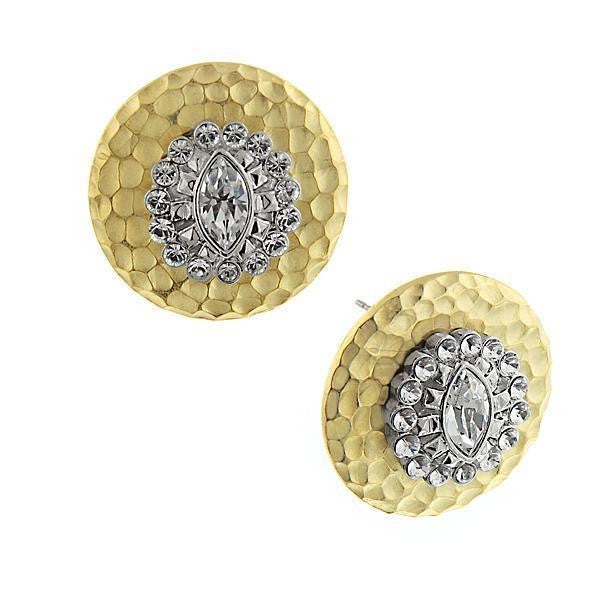 Gold Tone Crystal Button Earrings
