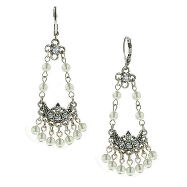Silver Tone Crystal / Costume Pearl Arc Earrings