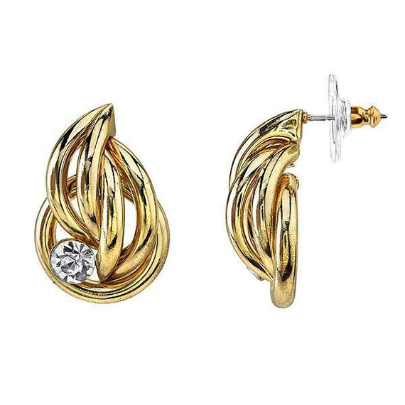 Fashion Jewelry - Gold Tone Clear Crystal Accent Button Earrings