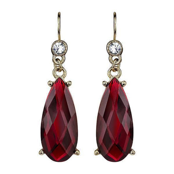Gold-Tone Red with Crystal Accent Teardrop Earrings