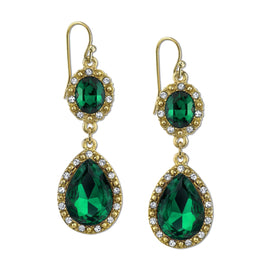 Gold-Tone Green Stone with Crystal Accent Teardrop Earrings