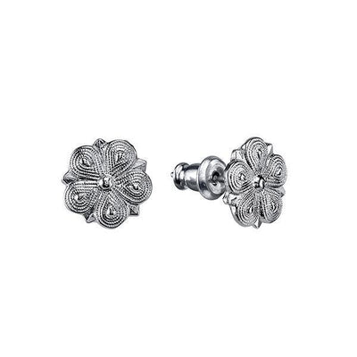 Silver Tone Flower Shaped Stud Earrings