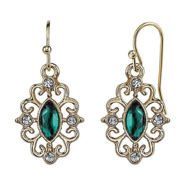 Gold-Tone Emerald Color Navette And Crystal Accent Filigree Drop Earrings