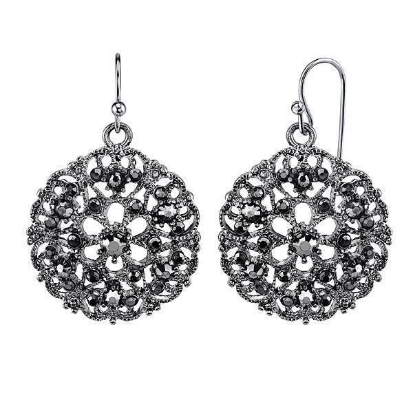 Silver-Tone Hematite Round Filigree Drop Earrings