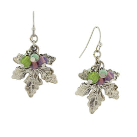 Silver Tone Grape Leaf Drop Earrings with Multi-Color Bead Accents