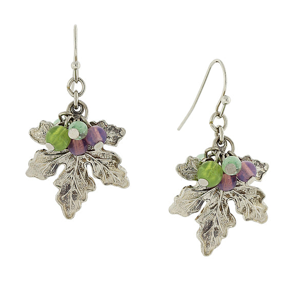 Grape Leaf Drop Earrings With Multi Color Bead Accents