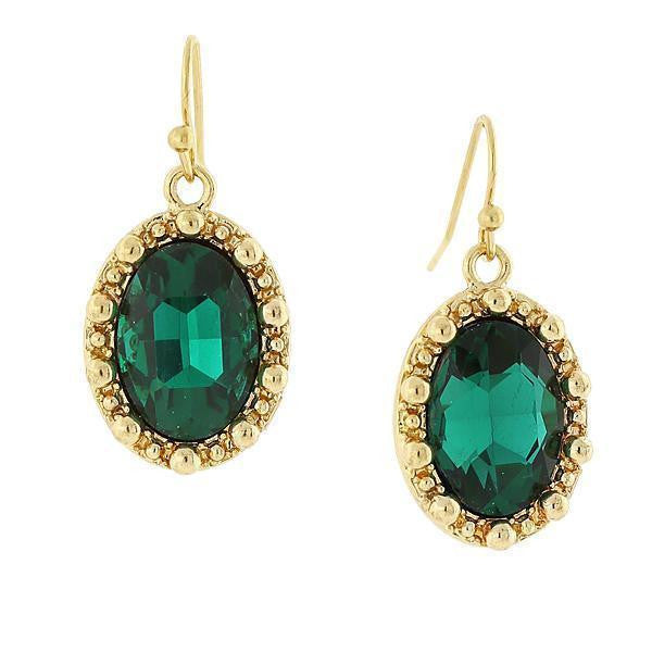 Gold-Tone Emerald Color Green Oval Drop Earrings