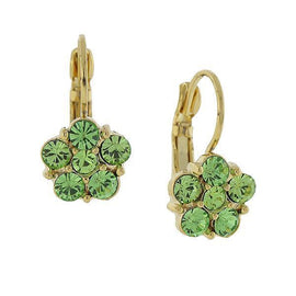 Gold-Tone Lt. Green Flower Drop Earrings
