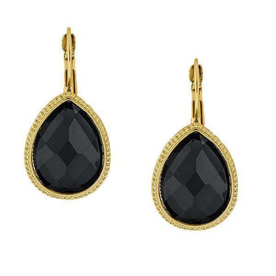 Gold Tone Black Faceted Teardrop Earrings