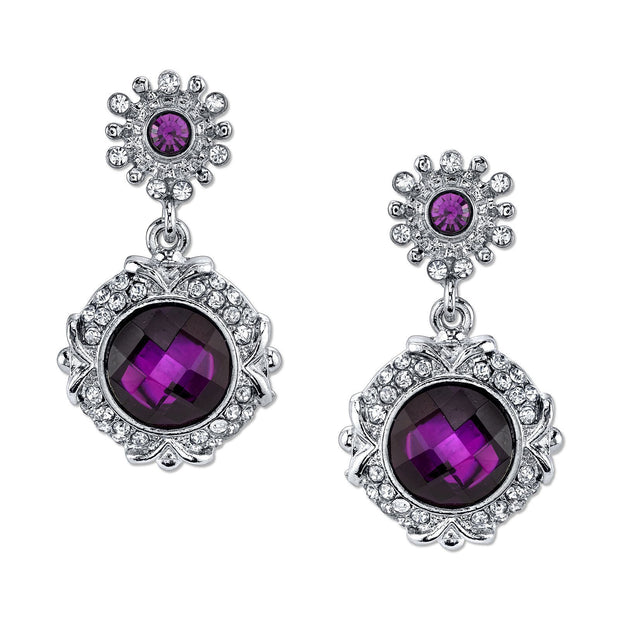 Silver-Tone Amethyst Purple Color Drop Earrings