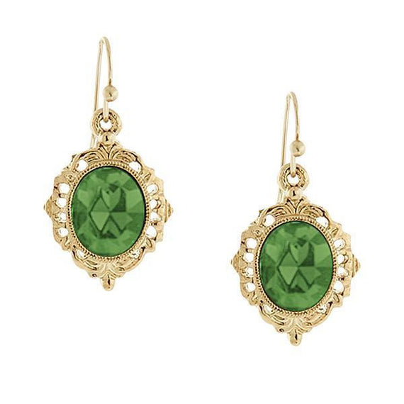 Fashion Jewelry - 2028 Gold Tone Peridot Color Drop Earrings