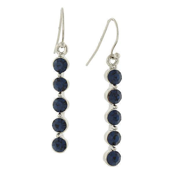 Silver Tone Blue Linear Drop Earrings