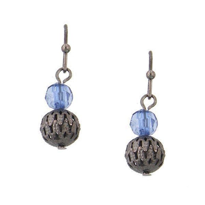 Black-Tone Blue Beaded Drop Earrings