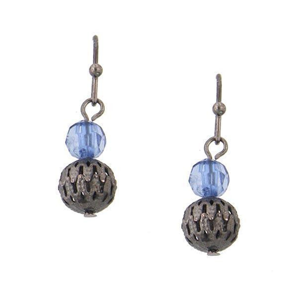 Black Tone Blue Beaded Drop Earrings