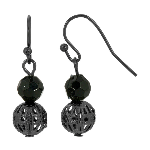 1928 Jewelry Black Tone Multifaceted Bead & Ball Drop Earrings