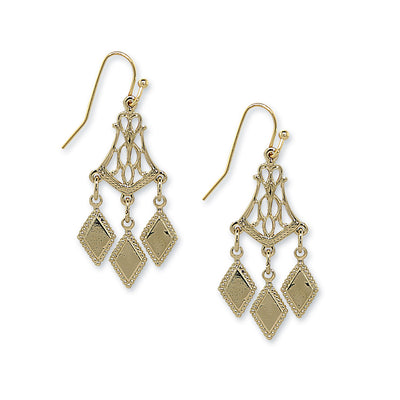 Gold Tone Filigree Chandelier Drop Earrings
