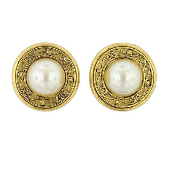Gold-Tone Simulated Button Earrings