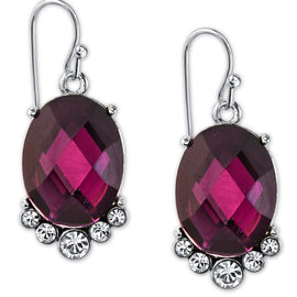 Silver-Tone Amethyst Purple Color Faceted and Crystal Accent Oval Drop Earrings