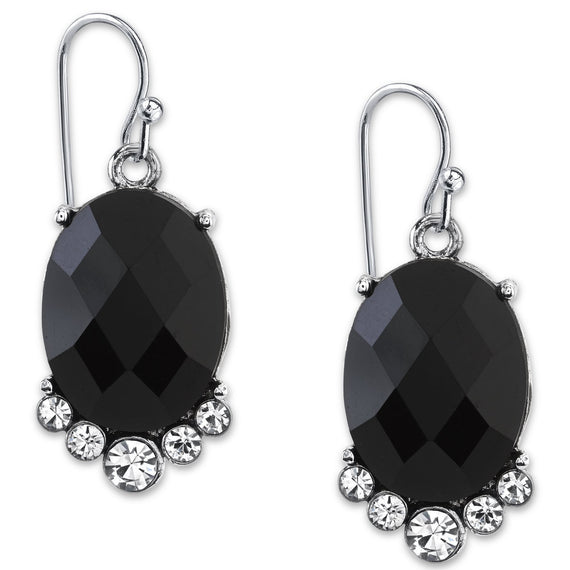 Silver-Tone Black Faceted and Crystal Accent Oval Drop Earrings