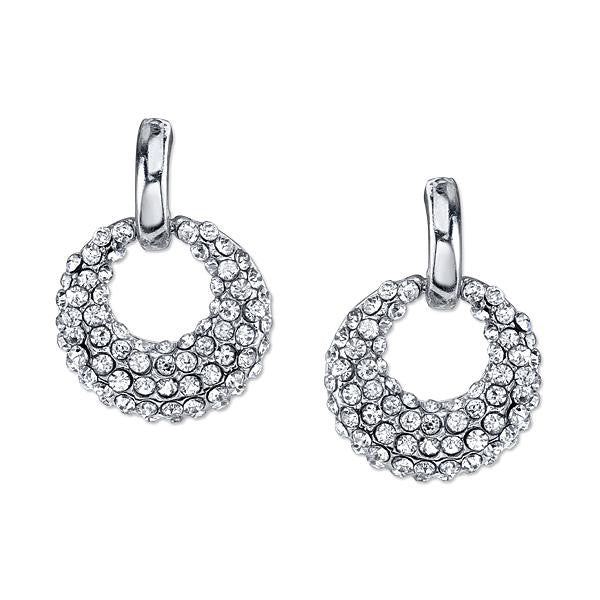 Silver Tone Crystal Pave Mini Open Hoop Earrings