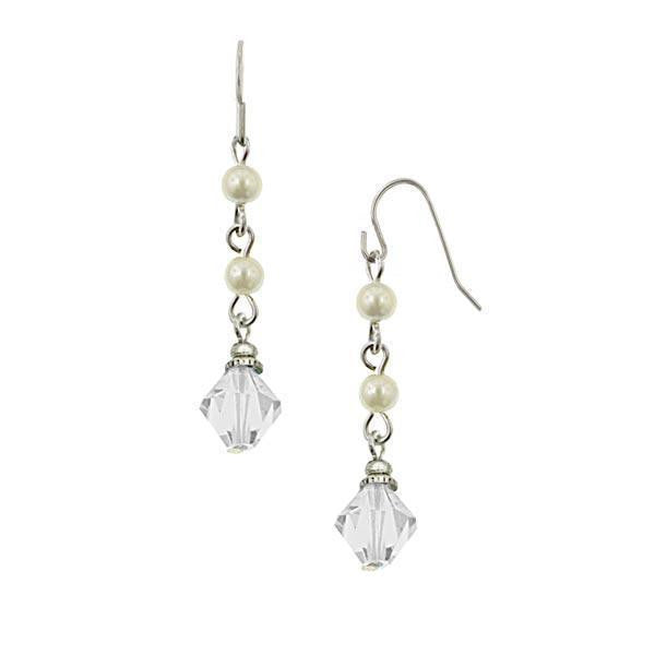 Silver-Tone Costume Pearl And Crystal Beaded Drop Earrings