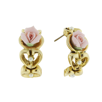 Gold-Tone Genuine Pink Porcelain Rose Earrings