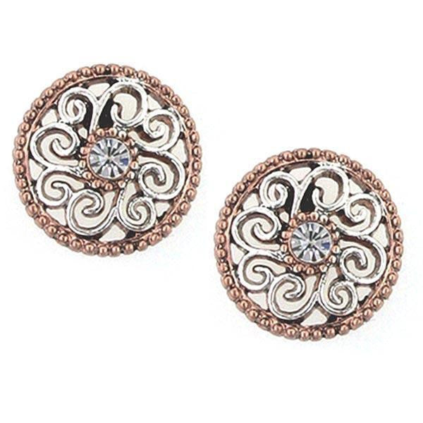 Rose Gold-Tone and Silver-Tone Crystal Filigree Stud Earrings