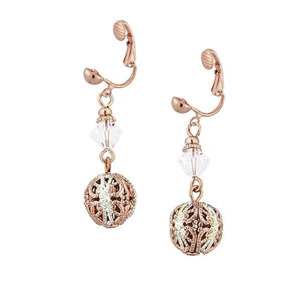 Rose Gold Silver-tone Crystal Beaded Clip On Earrings