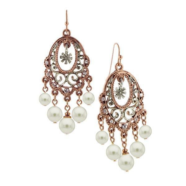 Rose Gold Tone And Silver Tone Costume Pearl Crystal Earrings