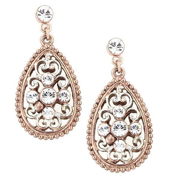 Rose Gold Tone And Silver Tone Crystal Drop Earrings