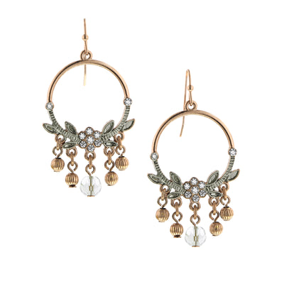 Rose Gold-Tone and Silver-Tone Crystal Hoop Earrings