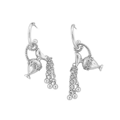 Silver Tone Pewter Hoop Drop Earrings