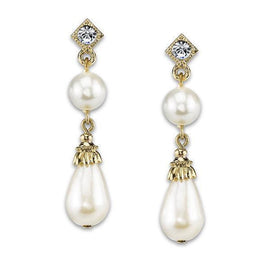 Gold-Tone Simulated Pearl w/ Crystal Accent Drop Earrings