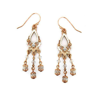 Rose Gold/Silver/Crystal Lantern Drop Wire Earrings