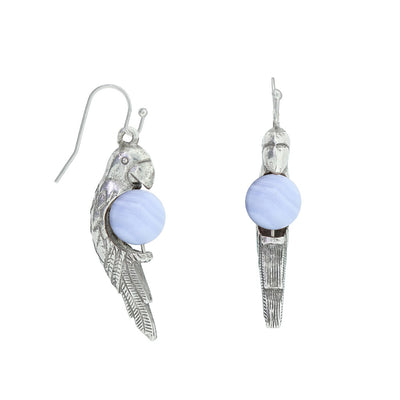 Blue Agate Pewter Parrot Gemstone Earrings