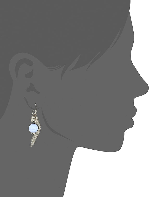 Pewter Parrot Gemstone Earrings Silhouette