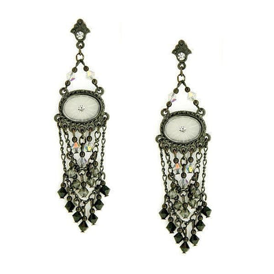 Black-Tone Black Crystal Oval Lantern Drop Earrings