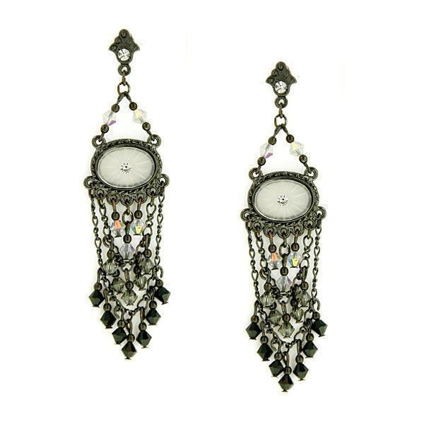 Black Tone Black Crystal Oval Lantern Drop Earrings