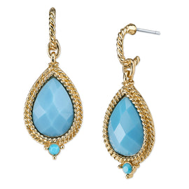 Gold-Tone Turquoise Pearshape Drop Earrings