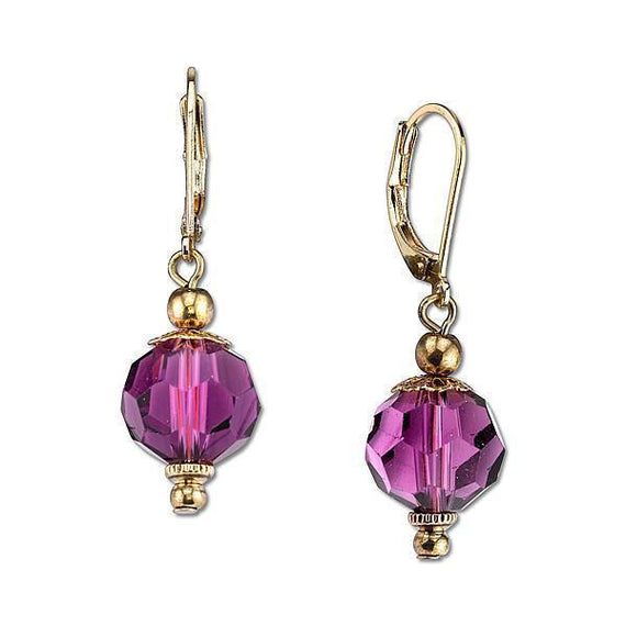 Gold-Tone Purple Faceted Bead Drop Earrings